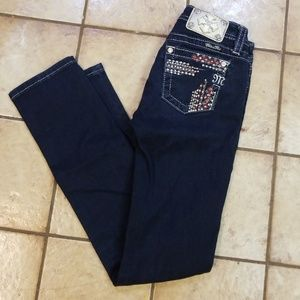 GIRLS teen Miss Me Jeans Dark sz 12 skinny